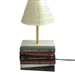Grays and Burgundy Book Lamp